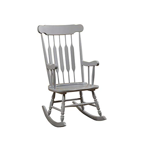 Benjara BM196620 Classic Cottage Style Wooden Rocking Chair with Lath Back Design, Gray
