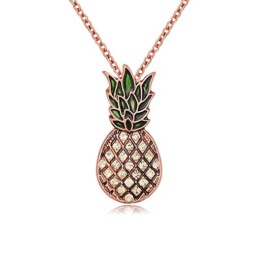 PANGRUI Enamel Crystal Rhinestone Pineapple Charm Pendant Necklace,Exquisite Antique Necklace (Rose Gold)