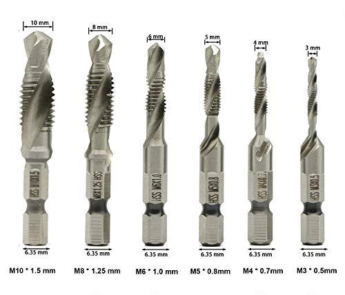 1Set  High Speed Steel Hex HSS Composite Spiral Screw Tap Drill YW