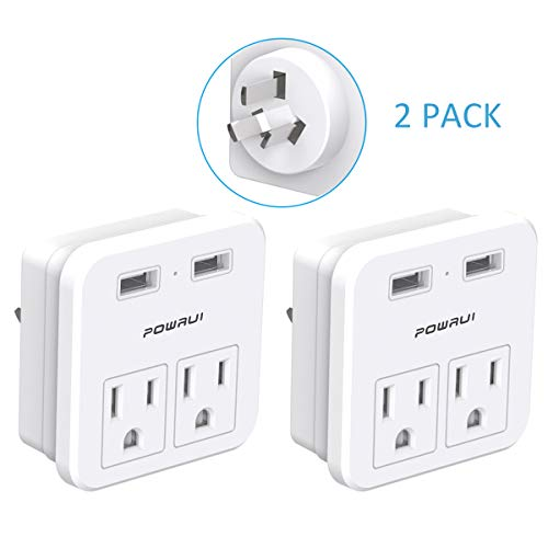 Australia, New Zealand, China Travel Adapter, POWRUI International Power Adapter with 2 AC Outlets and Dual USB ports, (Type I - Australia, China and More) 2 Pack