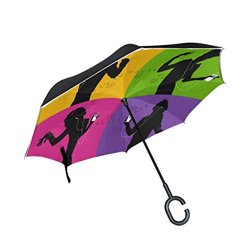 Reverse Umbrella Mucical And Dancing Windproof Anti-UV for Car Outdoor Use
