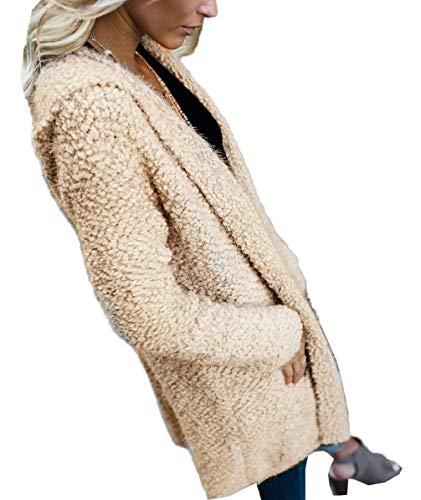 Confortevole Saoye A Invernali Giovane Casual Lunghe Donna Fashion Forcella Khaki Lunga Relaxed Incappucciato Giubbino Outerwear Aperto Autunno Monocromo Caldo Maniche Giubotto Giaccone Coat Eleganti 7Tpw7