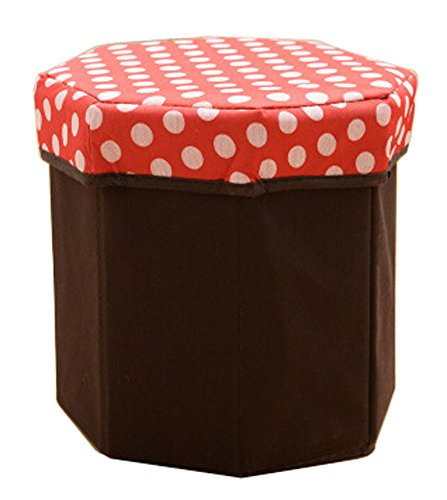 Storage Ottoman Collapsible Foldable Foot Rest Round Storag Ottoman RED