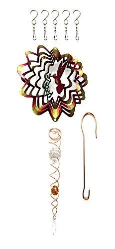 Bundle- Shipityourway 3D Wind Spinner Hummingbird - Gazing Ball Crystal Twister (6.5