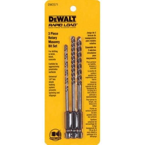 3 Piece Rotary Masonry - DEWALT DW2571 3 Piece Rotary Masonry Drill Bit Set