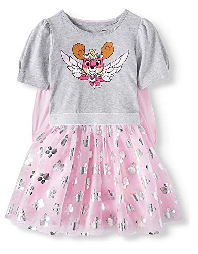 Hybrid Toddler Girls Paw Patrol Skye Tutu Dress with Cape (5T), Pink Gray Silver