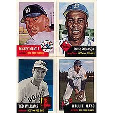 1991 Topps Archives 1953 Reprint Complete 330 Card Set. Loaded with Stars and Hall of Famers Including Mickey Mantle, Jackie Robinson, Roy Campanella, Eddie Mathews, Pee Wee Reese, Yogi Berra, Phil Rizzuto, Satchel Paige, Willie Mays, Hank Aaron, Ted Williams, Casey Stengel and More! (Phil Memorabilia Rizzuto)