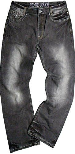#Tb09g Stone Touch Men's 13 Oz Embroidery Pocket Design Denim Jeans Size:48x32