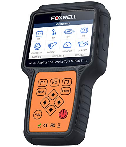 FOXWELL NT650 Elite Car OBD2 Scanner Automotive OBD II ABS Airbag Code Reader with SAS EPB DPF EPS CVT TPMS TPS Battery Registeration Oil Light Reset Auto Special Service Diagnostic Scan Tool (Molding Injector)