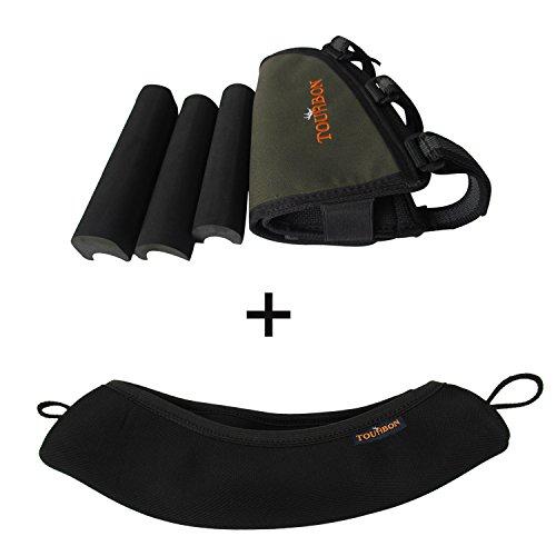 Tourbon Hunting Left Handy Rifle Buttstock Cheek Rest Shell Holder Black Scope Cover - Ar15 Mag Cinch