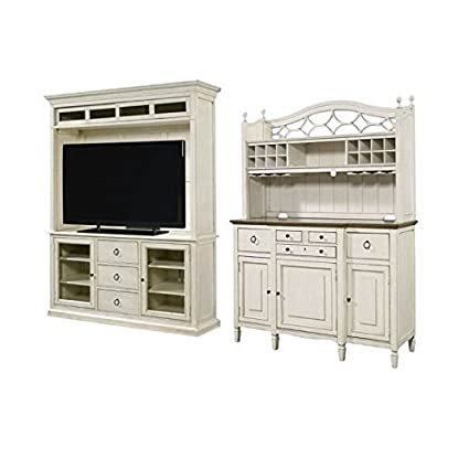 Amazon.com: Home Square 2 Piece Living Room Set With TV Stand U0026 Buffet With Bar  Hutch In Cotton: Kitchen U0026 Dining