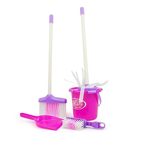 Little Treasures Mommy's Little Helper Toy Mini Sized Cleaning Play Set Water Bucket, Broom, Mop, Brush and - Mop Baby And Broom
