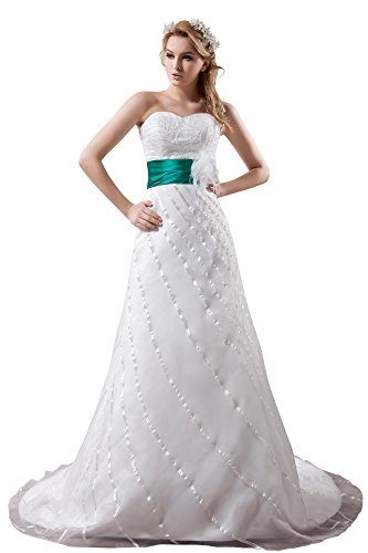Vogue007 Womens Sweetheart Satin Pongee Wedding Dress with Bead, ColorCards, 16 by Unknown