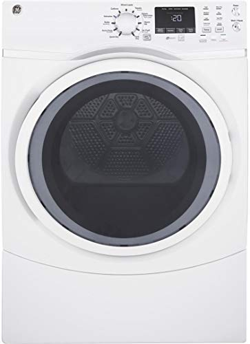 GE GFD45ESSMWW Front Load Steam Electric Dryer, 7.5 Cu. Ft. Capacity, White,