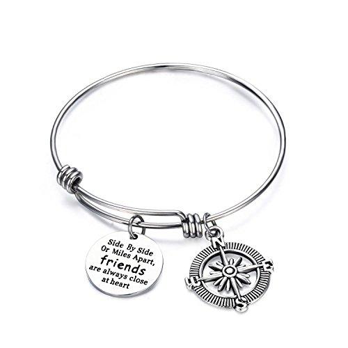 KUIYAI Best Friends Bracelet Side By Side or Miles Apart Expandable Wire Bangle with Compass Charm (Friend 1 bracelet)