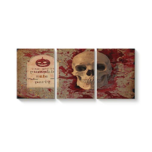 Arts Language 3 Pcs Canvas Wall Art Office Hotel Bedroom Living Room Home Decor,Horror 3D Skull Halloween Design Canvas Art Oil Paintings,Pictures Modern Artworks,24 x 28in x 3 -