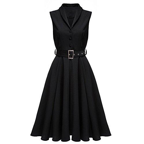 暴徒眩惑するまっすぐノースリーブワンピース シングルブレスト ドレス ソリッドカラー ベルト付 ボールガウン適用 ショールカラー ファッションドレス (M, 黒)