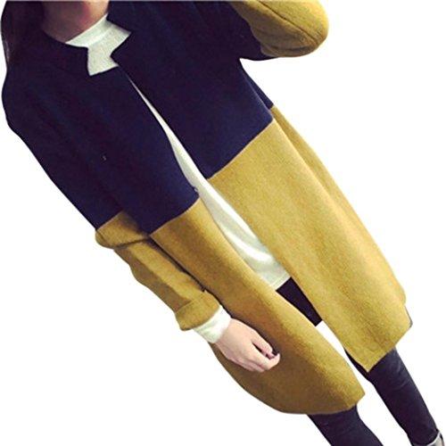 kaifongfu Winter Womens Cardigan, Long Jackets Autumn Warm Slim Ladies Coat Outwear Top Cardigan (Free Size, Yellow)