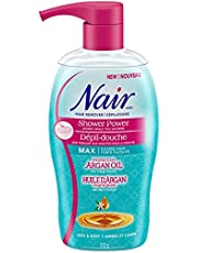 Nair Shower Power MAX Hair Remover for Coarse Hair on Legs & Body with Moroccan Argan Oil, 312-g