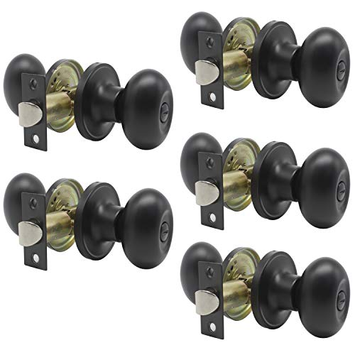 Cylindrical Lock Knob - (5 Pack) Black Interior Door Knobs for Bathroom Bedroom, Keyless Privacy Door Knobs, Cylindrical Bed/Bath Door Locks, Stainless Steel Door Handles by Probrico