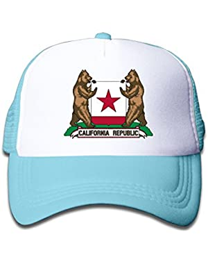 Trucker Cap Boy and Girl California Republic Bear Flag Mesh Baseball Hats