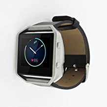 Fitbit Blaze Watch Leather Band Replacement ,Fancy C Vintage Genuine Smooth Leather Strap Wristband with Adjustable Clasp Bracelet Strap for Fitbit Blaze Watch Band - Black