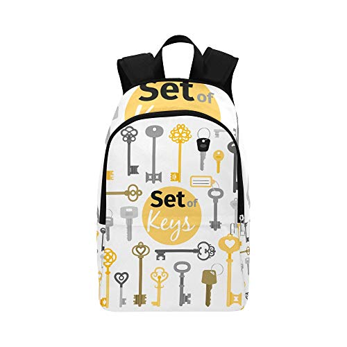 (HTJZH Vintage Style Beautiful Golden Key Casual Daypack Travel Bag College School Backpack for Mens and Women)