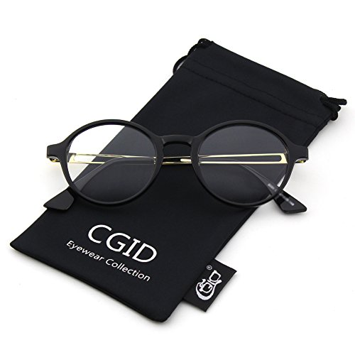 Happy Store CN94 Vintage Inspired Classic Circle Nerd UV 400 Clear Lens Glasses,Glossy - Circle Glasses Rim