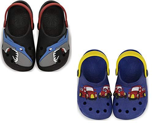 Kit com duas Sandalia Babuche Masculino Infantil Menino Calce Fácil - Tubarão Preto e Carro Azul Royal - 27/28