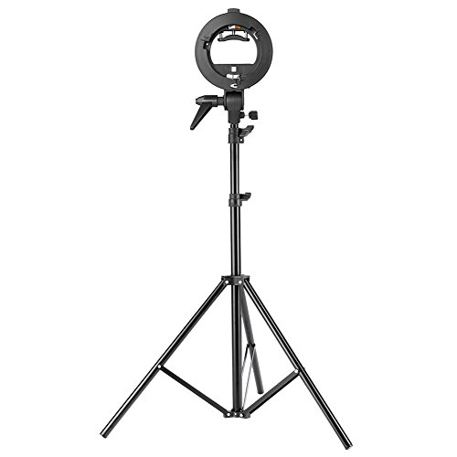Neewer Studio Photography S-Type Speedlite Bracket Holder with Bowens Mount and 75 inches/190 centimeters Adjustable Light Stand for Flash Snoot Softbox Beauty Dish Reflector (Stand Softbox)