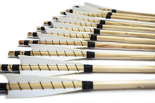 FlyArchery Archery Target Arrows, 32'' White Shield Feather Fletched Wooden Arrows with Field Points for Recure Bow Longbow Hunting Practice(Pack of 12)