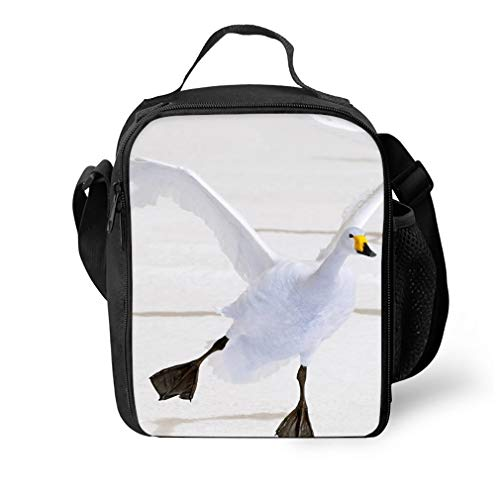Reusable Lunch Tote Bag Whooper Swan Food Container with Shoulder Straps