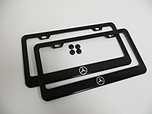 2 pieces mercedes benz logo black metal for Mercedes benz license plate logo
