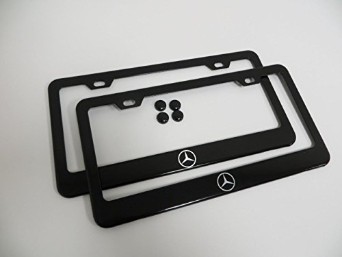2 Pieces Mercedes-benz Logo Black Metal License Plate Frame with Screw Cap Covers