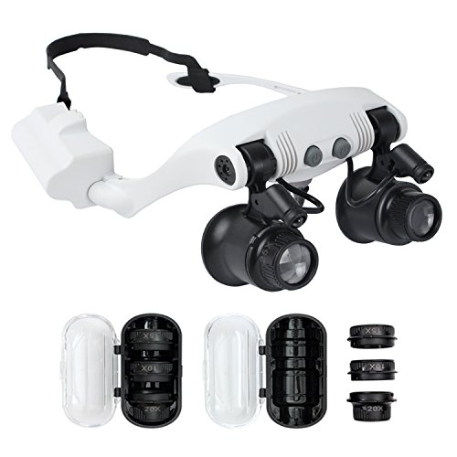 Qooltek Head Wearing Magnifying Lens with 0.2-2 inch Focal Length for Single Eye Observation LED Lighted Magnifier Jewelry Clock Repair Loupe 10X 15X 20X 25X in Separate Lens Case - Eye Magnifier