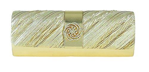 Bordure Diamante Avec Circulaire D'embrayage Doré Plissé Mesdames Sac nWfaXR