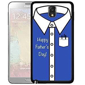 Happy Father's Day Blue and White Button up Shirt Hard Snap on Cell Phone Case Cover Samsung Galaxy Note 3 N9000