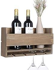 Kakivan Rustic Wall Mounted Wine Rack for 4 Red Wine Glasses Storage, Wooden Wine Bottle Holder for Farmhouse Kitchen Decor, Floating Wine Shelf Organizer for Living Room Display.