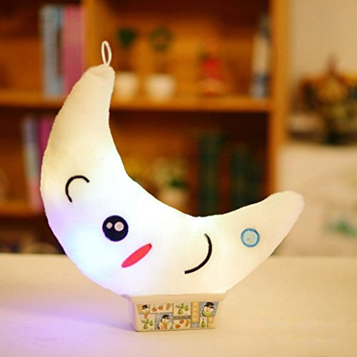 Cute Design Moon Glow LED Pillow Light Soft Cushion Home Plu