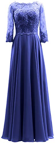 MACloth Women 3/4 Sleeves Lace Formal Evening Gown Maxi Mother of Bride Dress (US22w, Royal Blue)