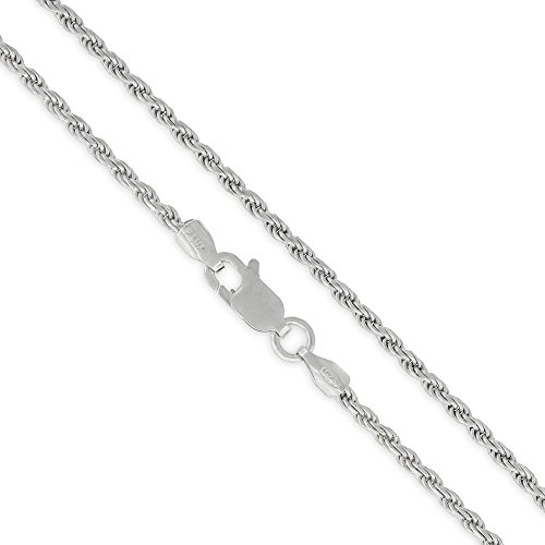 Sterling Silver Italian 2mm Rope Diamond-Cut Link Solid 925 Rhodium Twisted Chain Necklace 16