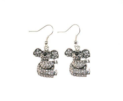 KOALA BEAR Earrings are Embellished with Black & Clear Cr...