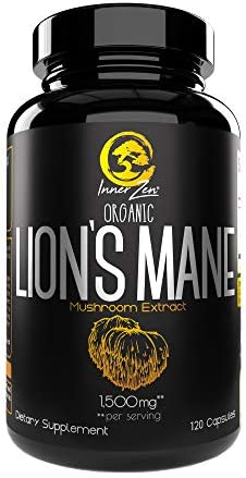 Inner Zen Lion s Mane Organic Mushroom Extract 1500mg 120 Capsules, Nootropic, Antioxidant, Mental Focus, Supports Cognitive Health 1