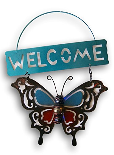 Metal Butterfly ''Welcome'' Hanging Door Sign - 7.5'' x 9.5''