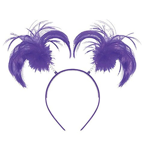 Feathers and Ponytails Headband Costume Party Headwear Accessory, Purple, Plastic, 5