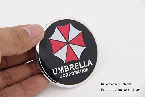 Four Corporation (R274 Umbrella Corporation 4 Piece Wheel Cover Black 3D Emblem Mobile car Sticker hub Cap hubcaps hub caps 56 mm)