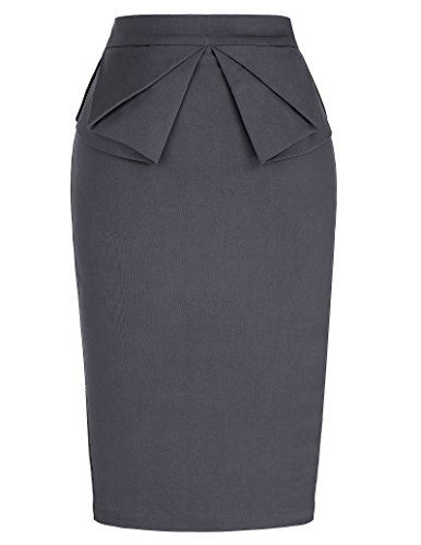(PrettyWorld Vintage Dress Elegant Women's Elastic Waist Office Pencil Skirt Cocktail Grey (L) KL-5 CL454 )