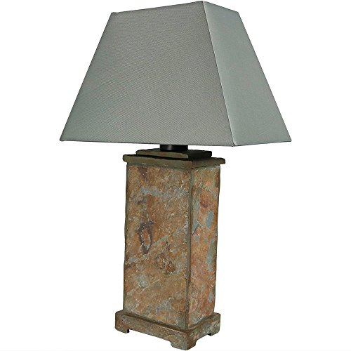 Sunnydaze Indoor/Outdoor Natural Slate Table Lamp, Weather Resistant 24 Inch (Side Slate Tables Patio Top)