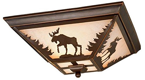 Flush Mount Bronze Green (Vaxcel CC55614BBZ Yellowstone Flush Mount, 14