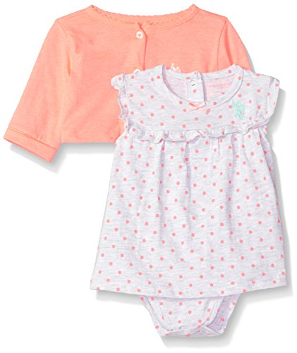 U.S. Polo Assn. Baby Girls Dress with Sweater or Jacket, Lots of dots neon Orange 12M